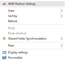 Image 1 - Menu AMD Radeon Settings